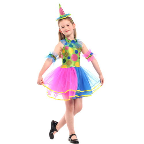 Children Girls Colorful Tutu Clown Costume Circus Halloween Carnival Fancy Dress