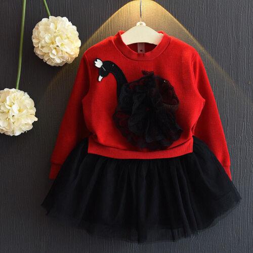 Toddler Kids Girls Long Sleeve Party Autumn Cartoon Dress Princess Mesh Skirt