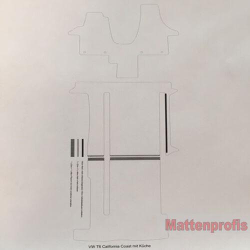 Premium Velour Fußmatten Auslage für VW T5 California mit Küche ab Bj.2003