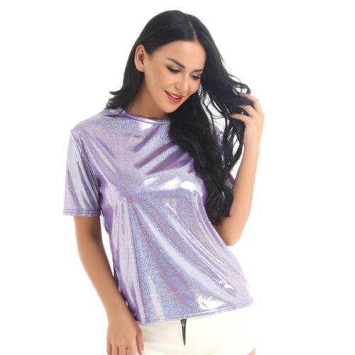 Women Shiny Short Sleeve Blouse Vest Cami Tank Crop Top T Shirt Loose Casual Tee