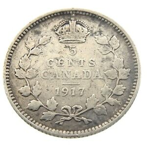 1917-Canada-5-Cents-Small-Silver-Circulated-George-V-Five-Cents-Coin-P443