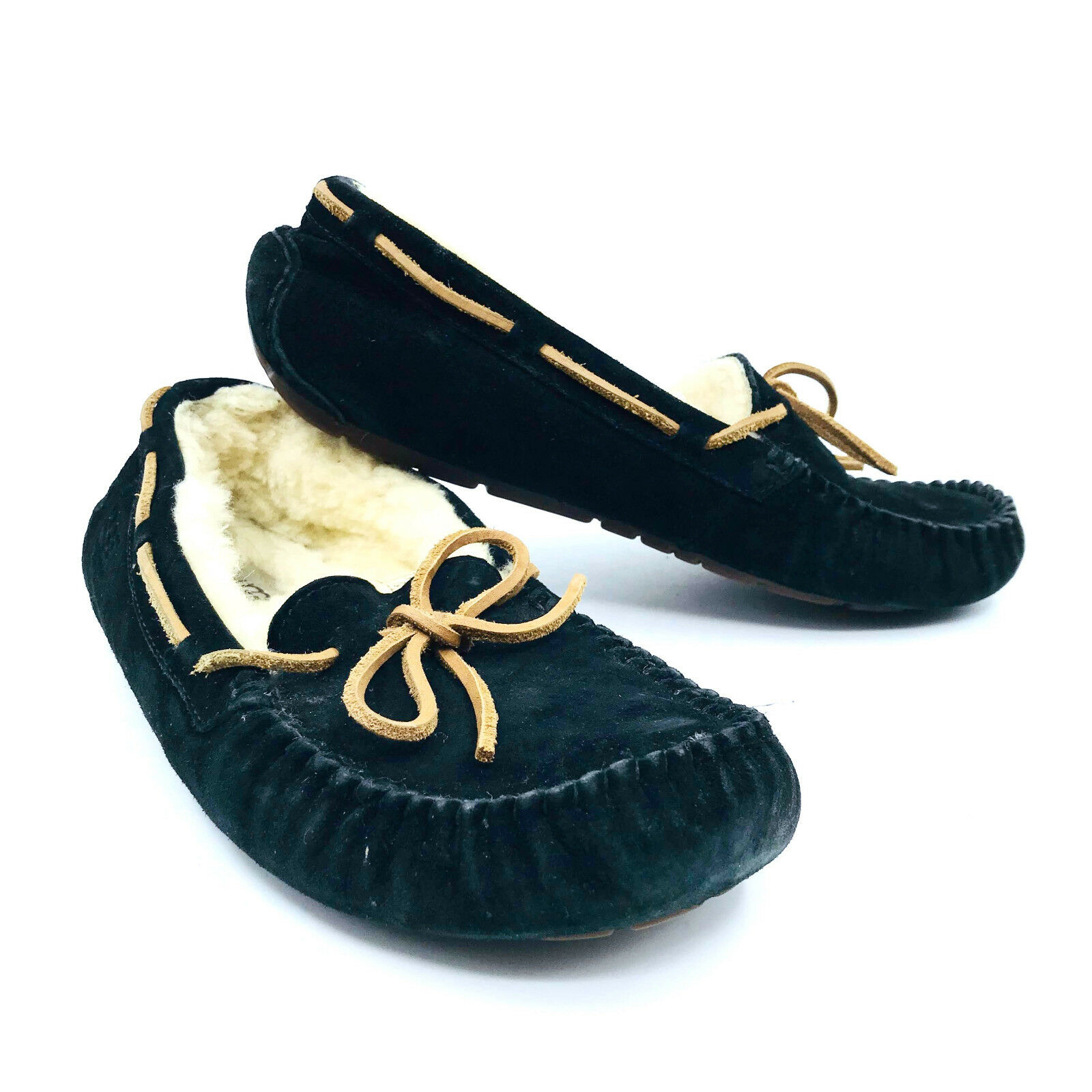 1c97bc12767 Details about Ugg Australia Dakota Black Slippers Moccasins Womens Size 8