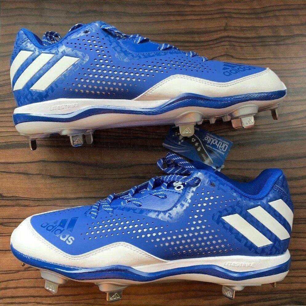NEW  ADIDAS (US Size 13) Men's PowerAlley 4 Baseball Cleats Royal bluee White