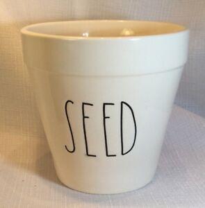 Ceramic-Flower-Pot-034-SEED-034-Planter-Ivory-Drainage-Hole-Rae-Dunn-Style-Trending