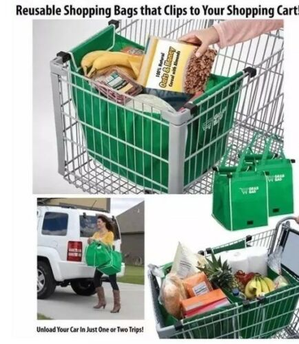 Grab Bag REUSABLE Clip To Cart SHOPPING Container Bags STORAGE EZ CARRY GROCERY