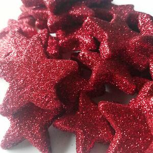 36 X Dicke Leichte Sterne Rot Streuen Glitzer Dekoration Styropor