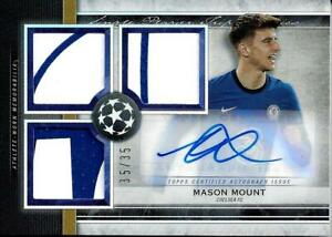 MASON MOUNT 2020-21 TOPPS MUSEUM COLLECTION AUTO TRIPLE JERSEY LOGO PATCH 35/35