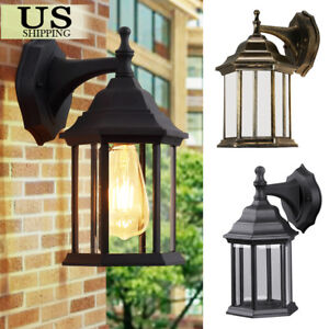 Outdoor-Wall-Mount-Lantern-Lamp-Sconce-Exterior-Clear-Glass-Lighting-Fixture