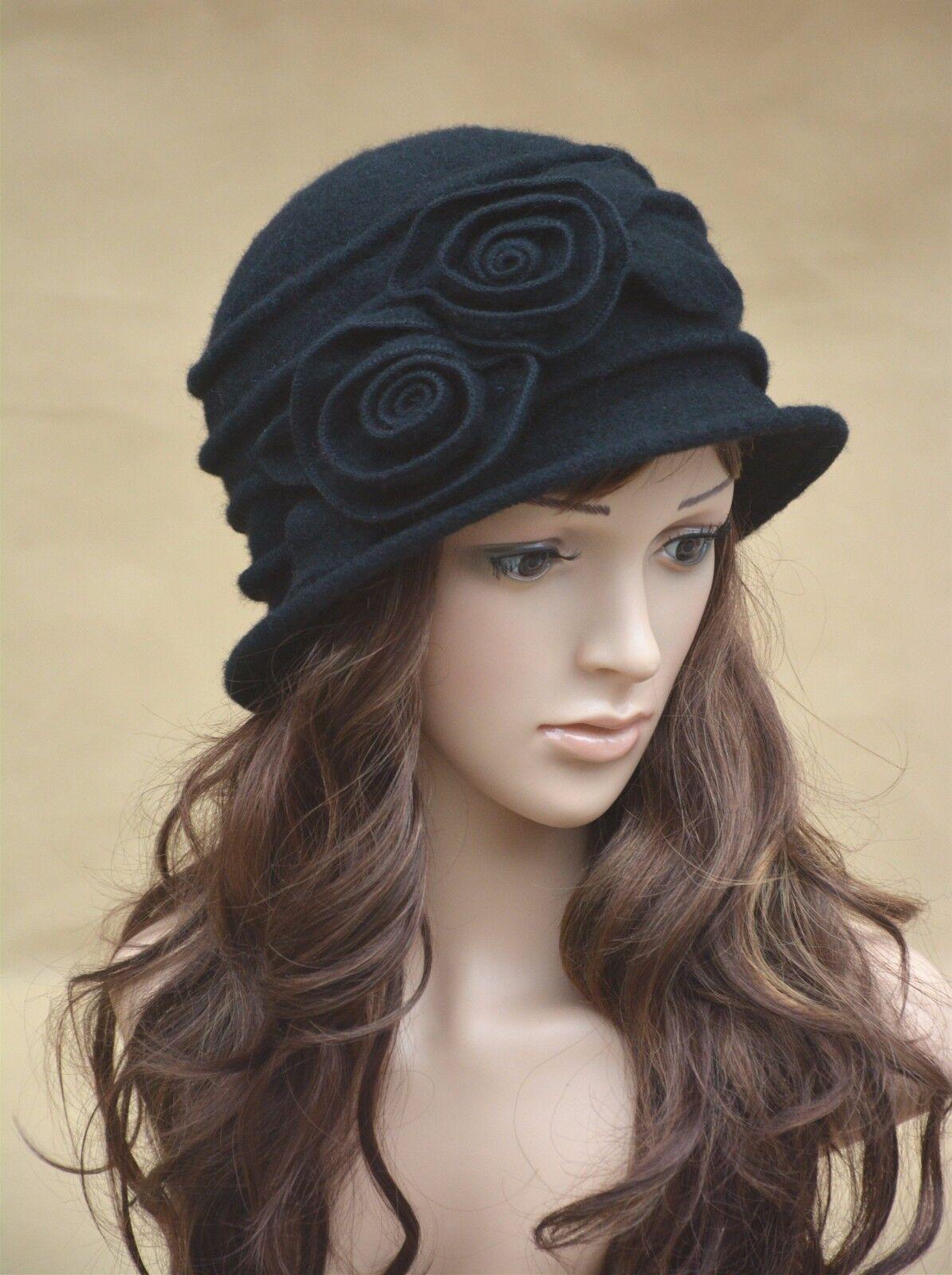 6d6da34db6b Womens Leaf Floral 1920s Vintage 100 Wool Beret Beanie Cloche Bucket Winter  Hat White
