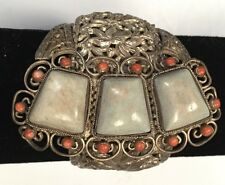 Beauty Vtg Chinese Export Silver Wash Openwork Turquoise Buckle Cuff Bracelet