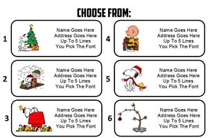 custom personalized charlie brown christmas snoopy return address