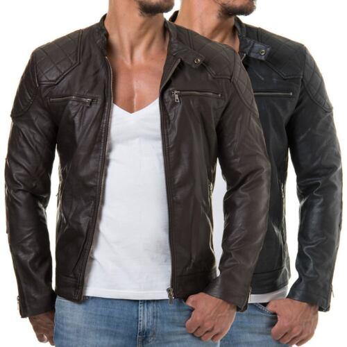 Mens Biker Vintage Motorcycle Black Cafe Racer Leather Jacket