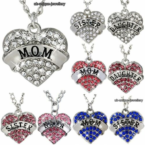 Hot Xmas Gifts For Her Silver Heart Pendant Necklace Women Mum Daughter Sister
