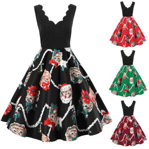 Women-Ladies-Sleeveless-V-Neck-Christmas-Cats-Print-Vintage-Flare-Swing-Dress-US
