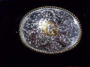 NOCONA-Western-Round-Letter-Silver-Gold-Belt-Buckle-Initial-G-034-G-034-S-37572-NIB