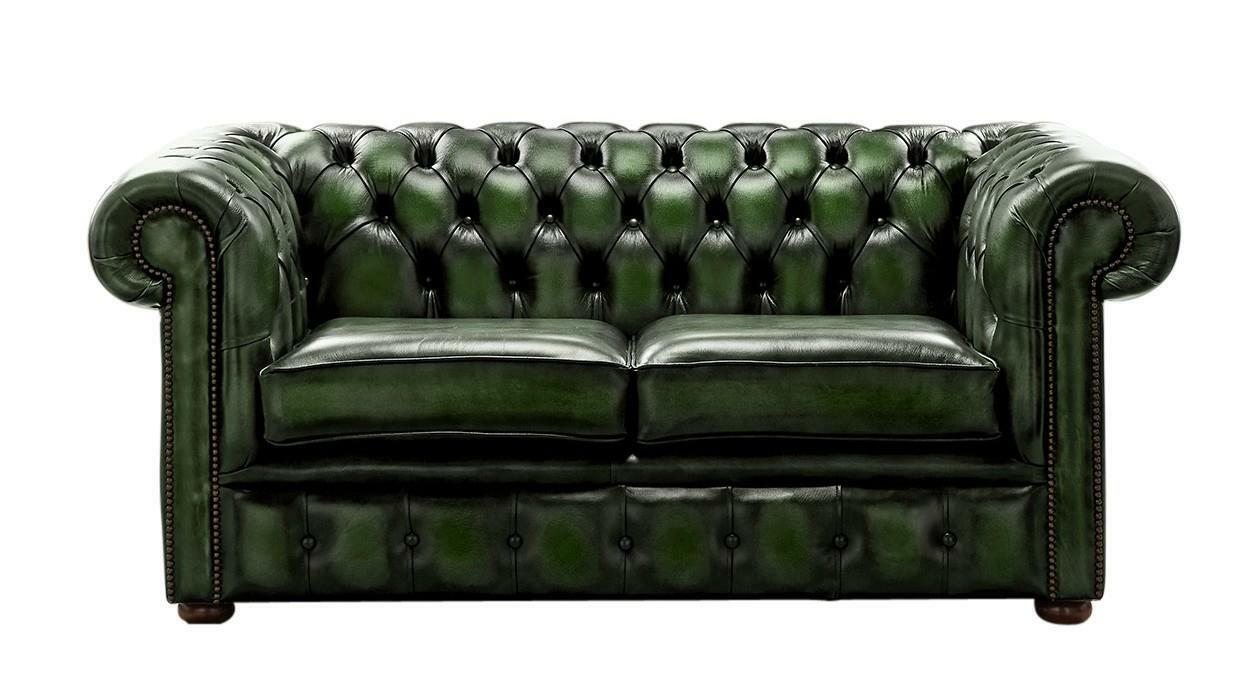 Details about Chesterfield Handmade 2 Seater Antique Green Leather Sofa  Settee