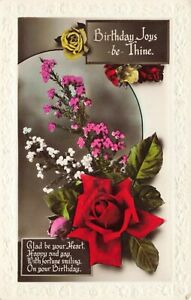 "Postcard ""Birthday Joys -be- Thine"" vintage unposted"