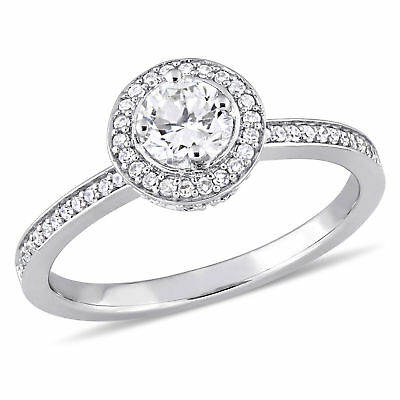 Amour 1/2 CT TW Diamond Halo Engagement Ring in 14k White Gold