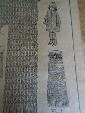 """PATRON ORIGINAL POUR LA POUPEE BLEUETTE """"COL ECHARPE AU CROCHET JANVIER 1920"""