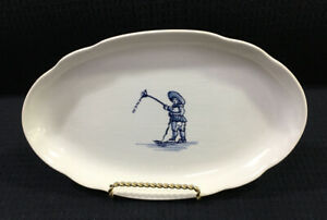 Royal-Goedewaagen-Holland-Oval-Relish-Dish-Boy-With-Kite-Crazed-Vintage-Holland