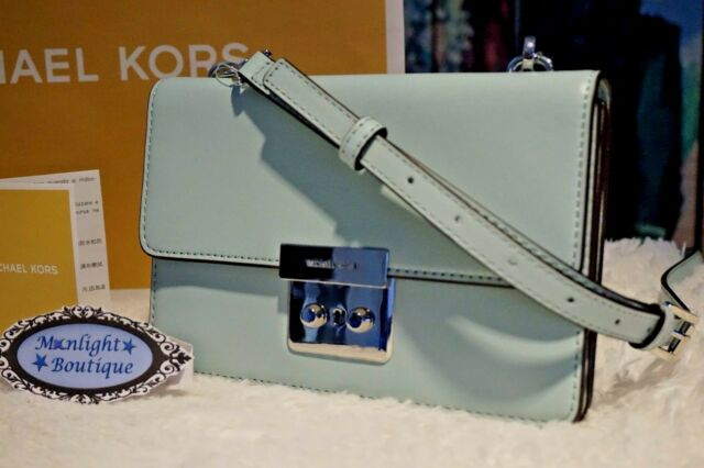 e1f53081f7f1 ... norway nwt michael kors sloan small flap gusset crossbody bag in  celadon leather 228 695ac 1eace