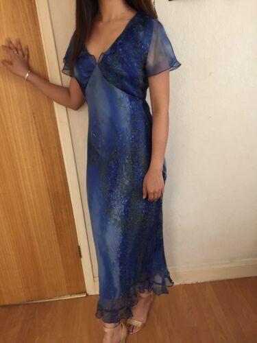 UNE BELLE SOIE Bleu à motifs doublée Femmes Robe Longue Taille M 10-12 NEUF