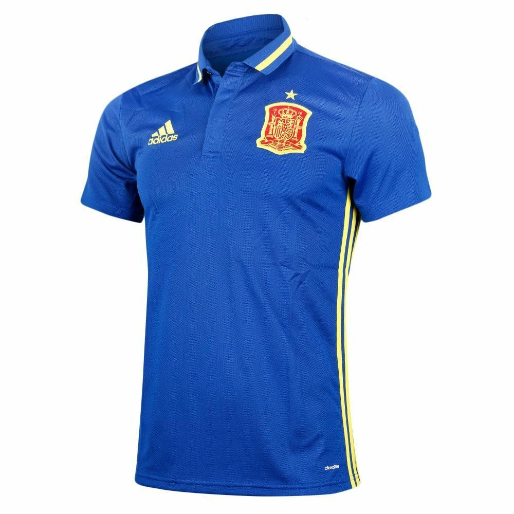 21026af2590 Adidas Spain FEF Climalite Polo Shirt Mens bluee Football Soccer Top Tee T- Shirt