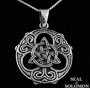 925 Sterling Silver Celtic Irish Infinity Knots Trinity Triquetra Round Charm Pendant