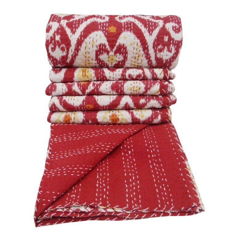 Handmade Quilt Vintage New Red Ikat Kantha Bedspread Throw Cotton Blanket Gudri