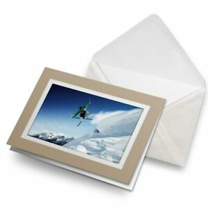 Greetings-Card-Biege-Ski-Jump-Skiing-Skier-Winter-Sports-24199