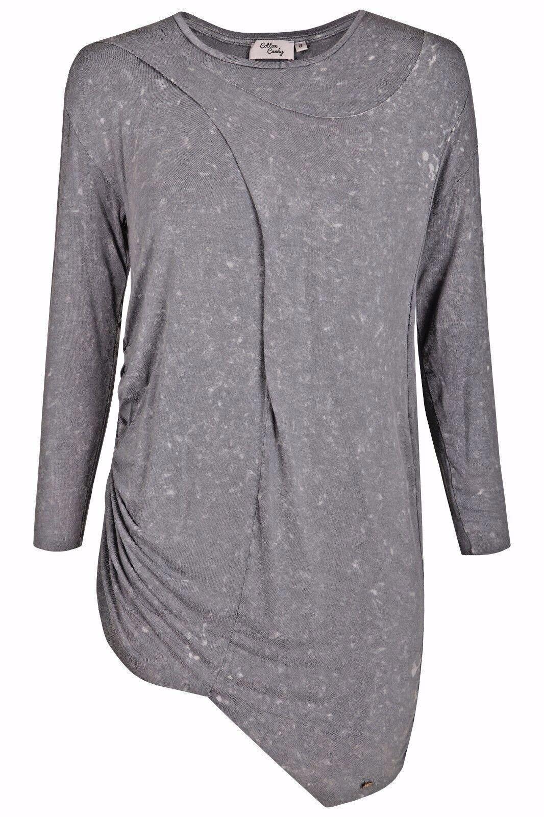Cotton Candy Damen Langarm Shirt grau asymetrisch
