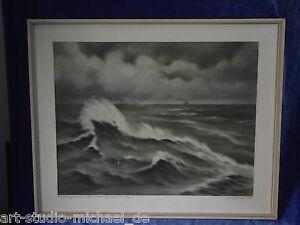 """Norddeutsche artisti: Henry guardia """"del Mare del Nord in grigio"""" PASTELLO"""