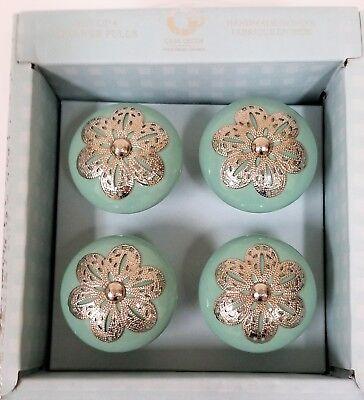 Casa Decor Teal Green Ceramic Silver, Teal Cabinet Knobs