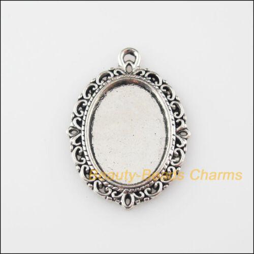8Pcs Tibetan Silver Tone Oval Flower Charms Pendants Picture Frame 21x29mm