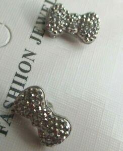 Boucles D'oreilles Percées Clou Nœud Papillon Couleur Argent Cristal Diamant 57