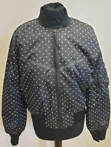 NIKE BLACK WHITE POLKA DOT FULL ZIP BOMBER JACKET F633 WOMENS UK M 10 EU 38