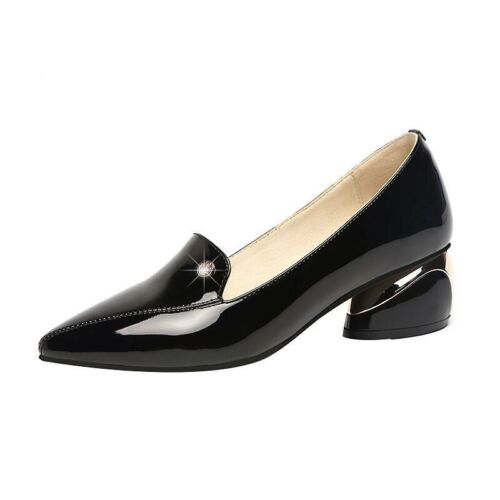 Womens Formal Dress Pointy Toe Slip on Low Chunky Pumps Office OL Shoes 34//45 B