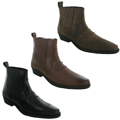 Mens Ankle Boots Black Leather Pull On Western Chelsea Men/'s UK6-12