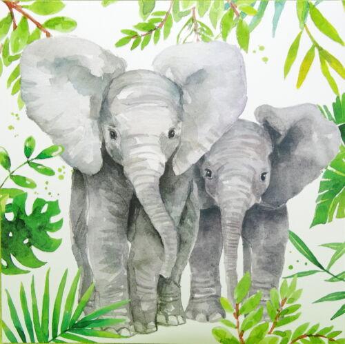 14 x 14 Effektlack Carte Postale éléphant jungle éléphant Carola Pabst CARTE DE VOEUX
