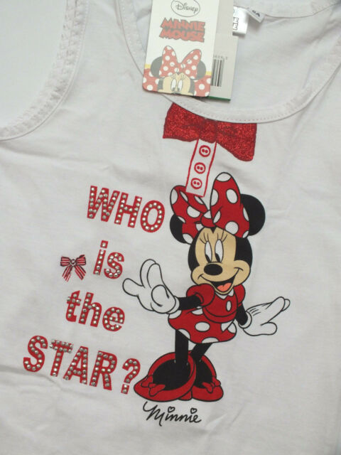 NEU DISNEY Minnie Mouse Maus Mädchen Tank Top ärmellos Shirt 122 128 8A