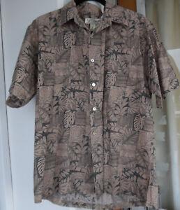 Hawaiian-Aloha-Shirt-Men-039-s-Meduim-Brown-Tan-034-Tori-Richard-034-Hawaii-Shirt
