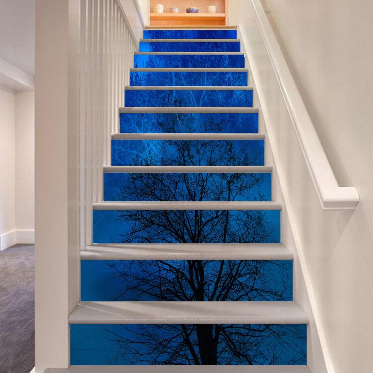 3D Night tree 5 Stair Risers Decoration Photo Mural Vinyl Decal Wallpaper UK