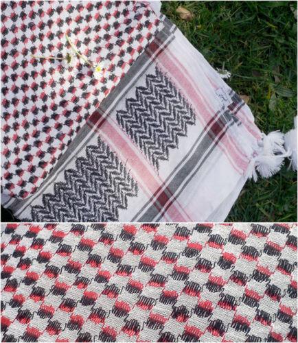 made in Palestine red /& black on white 100/% cotton Keffiyeh 110 x 110 cm