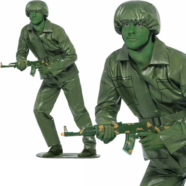 Toy Story Soldier Costume + Hat Adults Army Fancy Dress Green