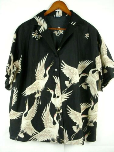 SHEIN  Crane Print Hawaiian Shirt Womens L Black