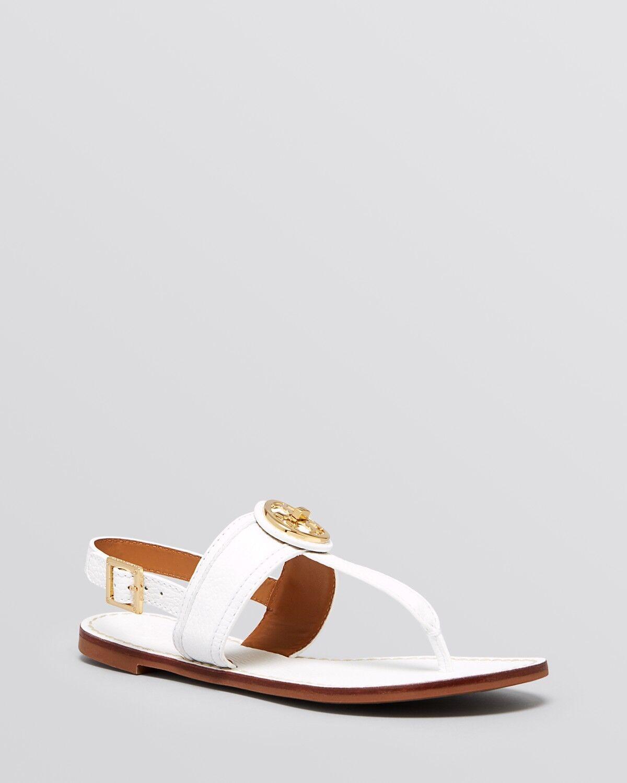 NIB Tory Burch Selma  schuhes Leder Flat Thong Sandals schuhes  Weiß 10 M 85ba16
