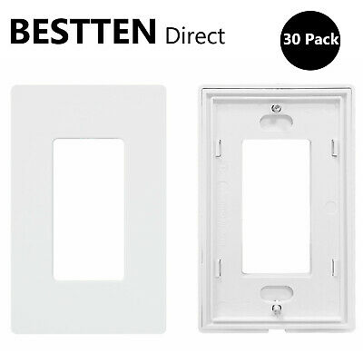 10 Pack BESTTEN 1-Gang Blank Device Wall Plate Outlet Cover UL Listed White