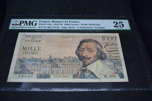 PMG Graded France, Banque de France p134a 1953 1000 Francs Banknote VF25