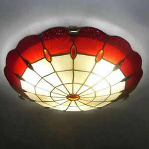 Vintage Amora Lighting Mission Tiffany Ceiling Light Flush Mount Style Fixture Ebay