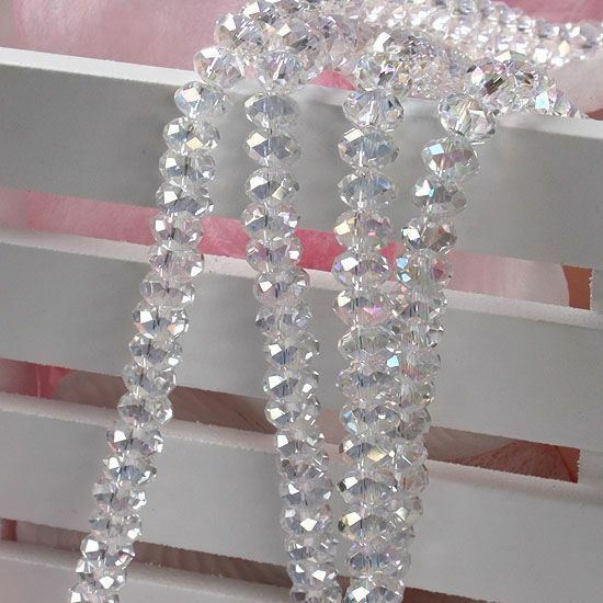 1 Strang AB klar Glasperlen Glas Kristall 4x6MM facette